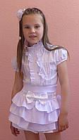 """Школьная юбка, юбка для девочек  """"Оборочка""""белый"""