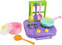 """Детский Набор посуды """"Ромашка"""" с маленькой газовой плитой, 7 предметов, 39150"""