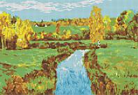 Схема для вышивания бисером Осенний пейзаж КМР 3243