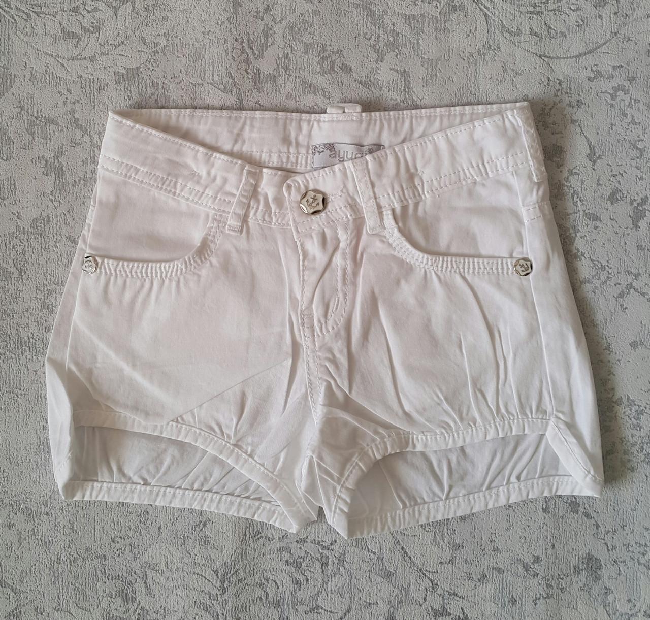 Белые шорты для девочек 128,134,140,146,152 роста A-yugi