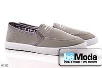 Модные мужские слипоны Wonex Grey из стрейчевого текстиля с оригинальной подкладкой в клетку серые