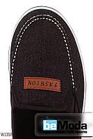 Необычные мужские слипоны Fashion Wonex Blackиз текстиля и джинсом с эмблемой впереди черные