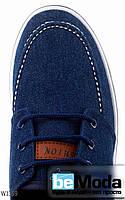 Оригинальные мужские мокасины Fashion Navy из качественного джинса с белой отстрочкой синие