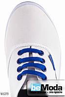 Модные женские кеды Wonex White&Royal белого цвета с синей полосой на подошве и синей шнуровкой белые
