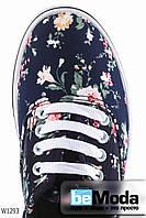 Привлекательные женские кеды Flowers Wonex Navy с цветочным принтом, на белой подошве  синие