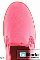 Стильные женские балетки Wonex Red из качестенного текстиля на цветной подошве розовые
