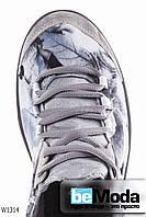 Шикарные женские кеды Wonex Grey из стрейч-текстиль с шелковой ниткой, с цветочным принтом и серыми шнурками