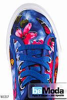 Стильные женские кеды  Butterfly Wonex Royal из текстиля с цветочным принтом на толстой белой подошве синие