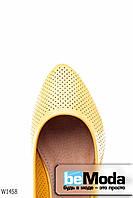 Милые женские балетки Girnaive Yellow из качественной экокожи с перфорацией желтые