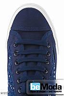 Привлекательные женские сникерсы Wonex D.Blue из гипюра с пайетками на толстой белой подошве синие