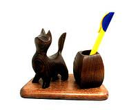 Подставка для ручек из дерева со статуэткой Кошка