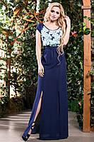 Двухцветное Летнее Платье в Пол из Креп-Шифона Синий Бирюза S-3XL