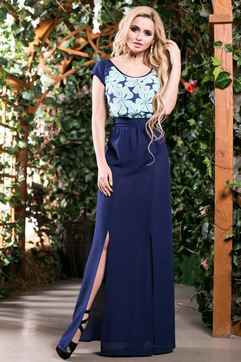 0403c09b1c15ab1 Двухцветное Летнее Платье в Пол из Креп-Шифона Синий Бирюза S-3XL - Ukraine