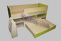 Кровать - чердак с шухлядами и полками Тимон дуб молочный + лайм, фото 1