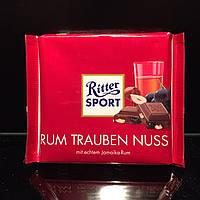 Необычный молочный шоколад с кишмишем и ямайским ромом Ritter Sport Rum Trauben Nuss