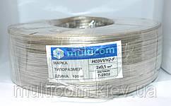 07-13-02. Кабель прозрачный плоский 2х0,5кв.мм (Tin CCA) 100м