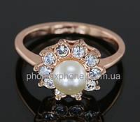Милое кольцо с жемчугом и кристаллами Swarovski, покрытое золотом (108890)
