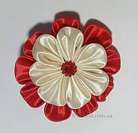 Резинка для волос красный с молочным цветок Handmade By Kate ck1 красный с  молочным