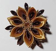 Заколка для волос золотой цветок Handmade By Kate kk22 золото с кофейным