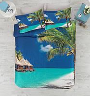 Двуспальное постельное белье 200х220 сатин Cotton box 3D Living Earth TROPICAL, море с пальмами