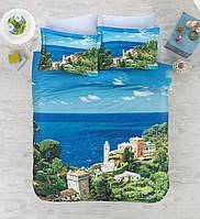 Двуспальное постельное белье 200х220 сатин Cotton box 3D Living Earth ITALIAN, море Италии