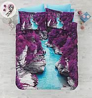 Двуспальное постельное белье 200х220 сатин Cotton box 3D Living Earth CANYON, каньон в цветах