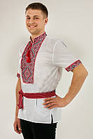 Вышитая мужская рубашка на батисте короткий рукав