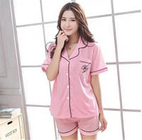 Пижама рубашка с коротким рукавом шорты розовый комплект