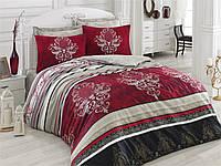 Набор постельного белья сатин  200х220 Cotton box Royal Saten ASRA BORDO, бордовый с серым