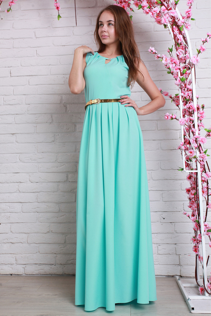 ec55d09982c Вечернее платье в пол с глубоким вырезом в мятном цвете