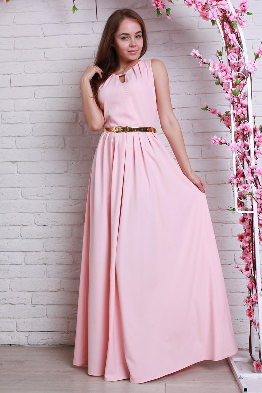 6dba4ccc105 Шикарное вечернее платье из шифона длинное в пол в модном цвете пудра