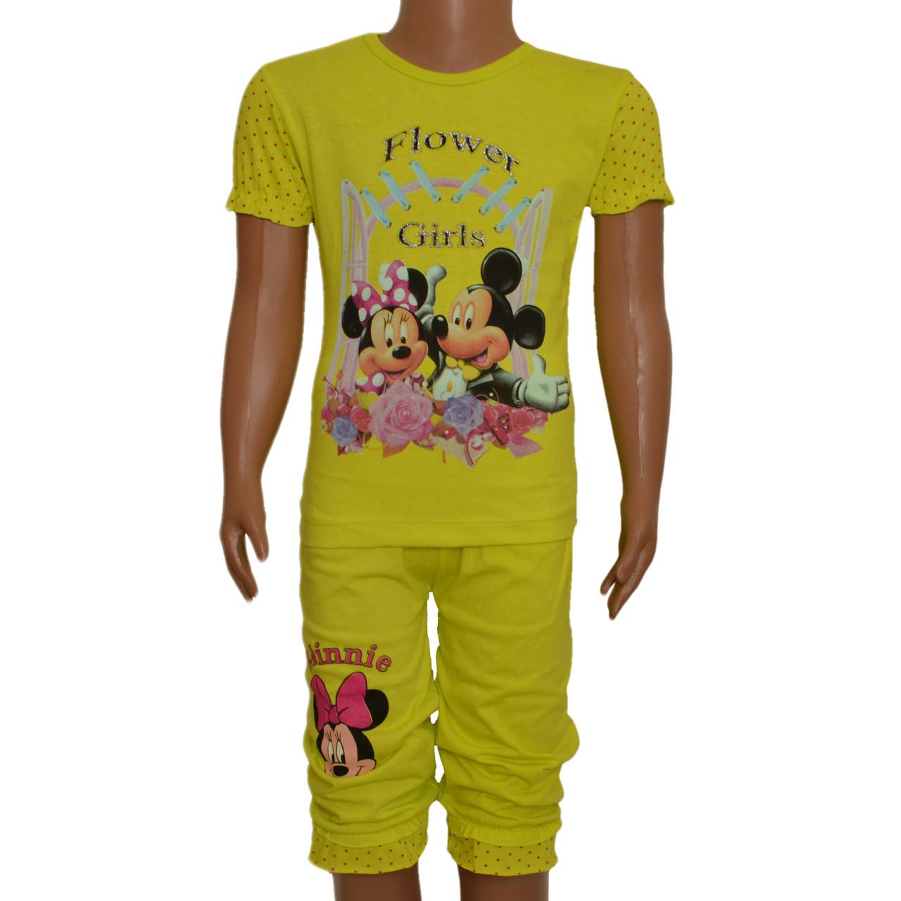 Костюм футболка и бриджы с Микки для девочки (салатовый), от 4 до 8 лет, Турция