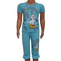 Костюм футболка и бриджы с кошечкой для девочки (голубой) на 7-8 лет