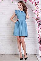 Милое летнее платье из тонкого джинса в горошек с воротничком