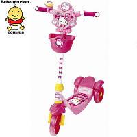 Самокат трехколесный. Скутер-самокат YaYa Hello Kitty и Poly с тормозами. Акция розовый