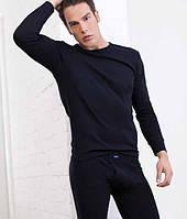Черная мужская футболка с длинным рукавом Key MVD 012
