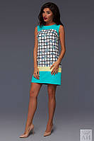 Платье в клеточку с цветами 02/483