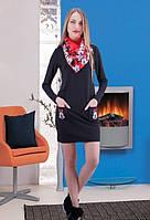 Женская туника с карманами шарф сёмный