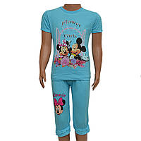 Костюм футболка и бриджы с Микки для девочки (голубой), от 4 до 8 лет, Турция