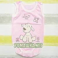 Детский боди-майка р. 68 ткань КУЛИР 100% тонкий хлопок ТМ Финтекс 3104 Розовый