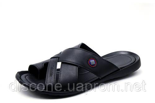 Шлепанцы Columbia SummerLife, мужские, кожаные, черные