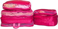 Набор 5 шт. Сумка органайзер для вещей в чемодан, богажник. ORGANIZE. Цвет: розовый.