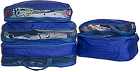 Набор 5 шт. Сумка органайзер для вещей в чемодан, богажник. ORGANIZE. Цвет: синий.