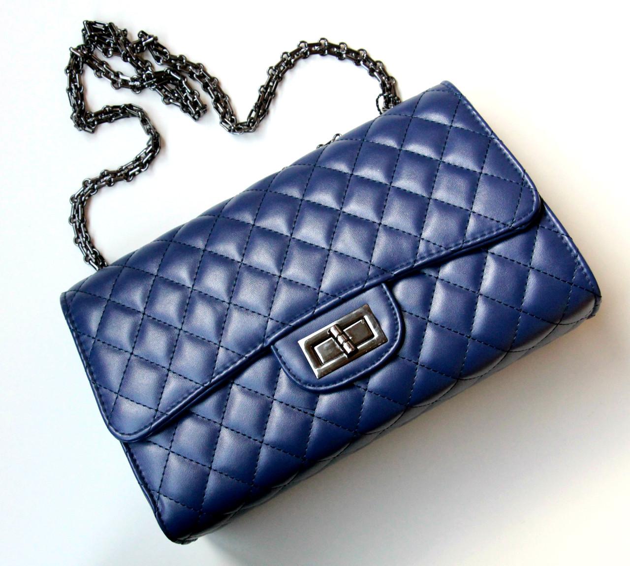 7eb6cf1af6cb Женская сумка в стиле Chanel Flap синяя, сумки женские 2015 -  Интернет-магазин