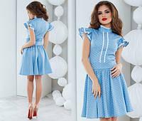 Голубое модное платье в белый горошек коттон+лён, пышная юбка . Арт.-5498/48