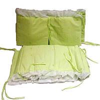 Защита в кроватку Цветы, 4 элемента, салатовая