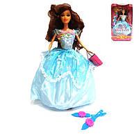 Кукла 2933 в голубом платье с аксессуарами (туфли с сумочкой)