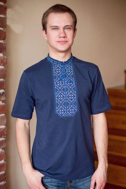 Синяя мужская вышитая футболка, фото 1