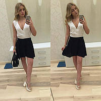 Красивое платье белый верх, юбка - черная