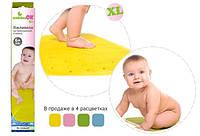 Коврик противоскользящий в ванну XL 34,5-76см Kinderenok XL, резина желтый